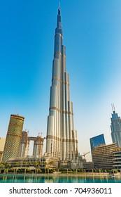 DUBAI, UAE - August 19: Burj Khalifa in Dubai, United Arab Emirates on August 19, 2017.