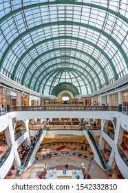 Dubai, UAE - August 28 2018: Mall of the emirates interior shopping centre with people shopping