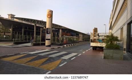 dubai, uae - August 8, 2018 : meya sana tram train station in jumeirah marina in dubai.