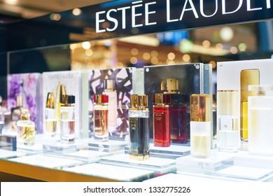 DUBAI, UAE - CIRCA FEBRUARY, 2019: perfumes on display in Duty Free at Dubai International Airport.