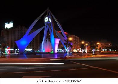 DUBAI, UAE - CIRCA JANUARY 2014: Clock tower roundabout in Deira circa January 2014 in Dubai Deira, United Arab Emirates
