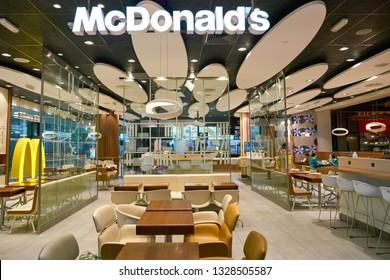 DUBAI, UAE - CIRCA JANUARY, 2019: McDonald's restaurant in Dubai International Airport.