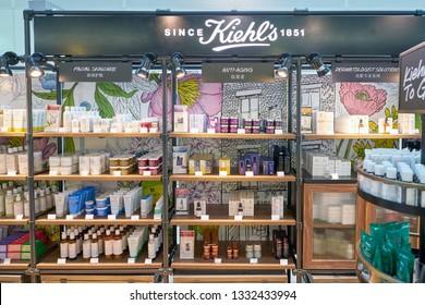DUBAI, UAE - CIRCA JANUARY, 2019: Kiehl's cosmetics on display at Dubai International Airport.