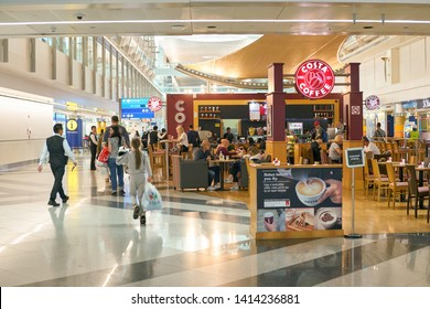 DUBAI, UAE - CIRCA JANUARY, 2019: Costa Coffee in Dubai International Airport. Costa Coffee is a British multinational coffeehouse company.