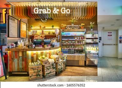 DUBAI, UAE - CIRCA JANUARY 2019: Giraffe Grab & Go at Dubai International Airport.