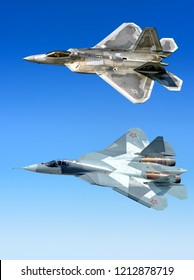 DUBAI, UAE - CIRCA NOVEMBER, 2009: US air force Lockheed Martin F 22 Raptor Russian Air Force Sukhoi T-50 PAK FA 5th generation stealth fighter aircraft flying aerial comparison design reference view