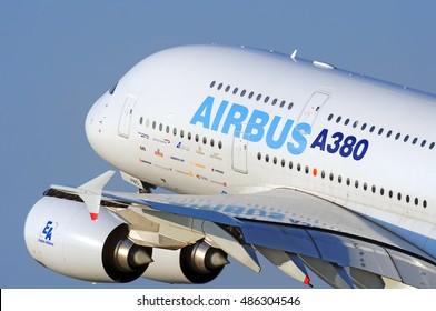 DUBAI, UAE - CIRCA NOVEMBER, 2009: Airbus Industries EADS Airbus A380 super jumbo large wide body passenger airplane take off detail aerial exterior close up crop view