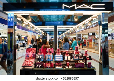 DUBAI, UAE - CIRCA NOVEMBER, 2016: MAC cosmetics at Dubai International Airport. It is the primary airport serving Dubai and is the world's busiest airport by international passenger traffic.