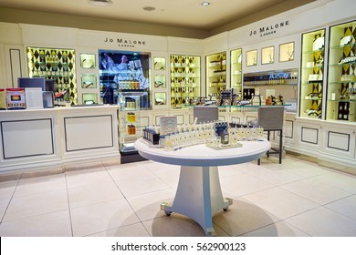 DUBAI, UAE - CIRCA NOVEMBER, 2016: Jo Malone store at Dubai International Airport. Jo Malone London is a British perfume and scented candle brand, founded by Jo Malone.