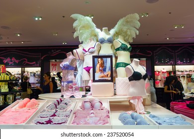 DUBAI, UAE - CIRCA OCTOBER, 2014: inside Victoria's Secret store at the Dubai Mall. Victoria's Secret is the largest American retailer of women's lingerie.