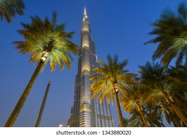 Dubai, UAE - Dec 10, 2018. View of Burj Khalifa at night in Dubai. The building is world tallest tower, with a total height of 829.8 m.