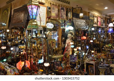 DUBAI, UAE - DEC 10: Khan Murjan market at Wafi Mall in Dubai, UAE, on Dec 10, 2018. Wafi City, styled after ancient Egypt, is a mixed-use development including a mall, hotel and restaurants.