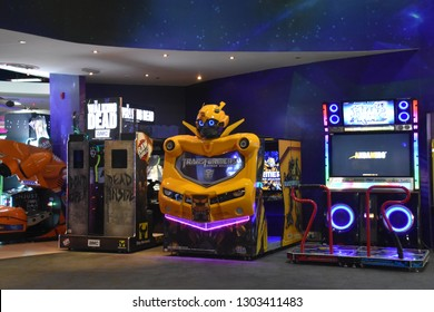 DUBAI, UAE - DEC 10: Magic Planet at Deira City Centre in Dubai, UAE, as seen on Dec 10, 2018. The mall opened in 1995 and is the original flagship mall in the Majid Al Futtaim Properties portfolio.
