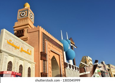 DUBAI, UAE - DEC 12: Kuwait pavilion at Global Village in Dubai, UAE, as seen on Dec 12, 2018. The Global Village is claimed to be the world's largest tourism, leisure and entertainment project.
