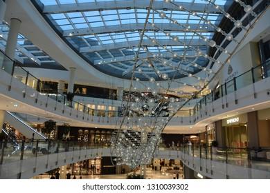 DUBAI, UAE - DEC 13: Fashion Avenue at Dubai Mall in Dubai, UAE, as seen on Dec 13, 2018. The Fashion Avenue added a retail inventory of an additional 190 plus new high-end outlets.