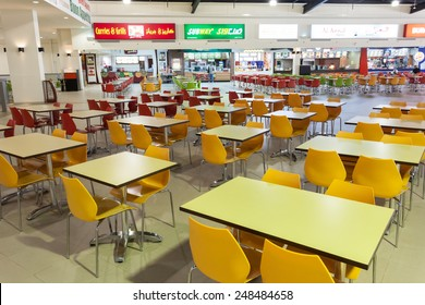 DUBAI, UAE - DEC 13: Food Court at the Dubai Outlet Mall. The shopping mall is part of Dubai Outlet City in Dubai. December 13, 2014 in Dubai, UAE