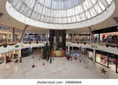 DUBAI, UAE - DEC 13: Interior of Dubai Outlet Mall.  The shopping mall is part of Dubai Outlet City in Dubai. December 13, 2014 in Dubai, UAE