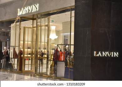DUBAI, UAE - DEC 13: Lanvin at Fashion Avenue at Dubai Mall in Dubai, UAE, as seen on Dec 13, 2018. The Fashion Avenue added a retail inventory of an additional 190 plus new high-end outlets.