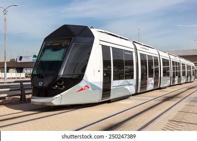 DUBAI, UAE - DEC 16: New tram service in the city of Dubai. December 16, 2014 in Dubai, United Arab Emirates