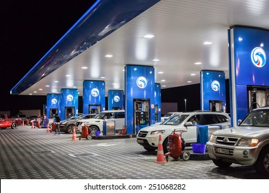 DUBAI, UAE - DEC 19: ENOC Petrol station in the city of Dubai. December 19, 2014 in Dubai, United Arab Emirates