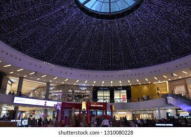 DUBAI, UAE - DEC 19: Marina Mall in Dubai, UAE, as seen on Dec 19, 2018. The mall features 140 retail outlets, spread over 390,000 sq ft of space, making it one of the largest shopping malls in Dubai.