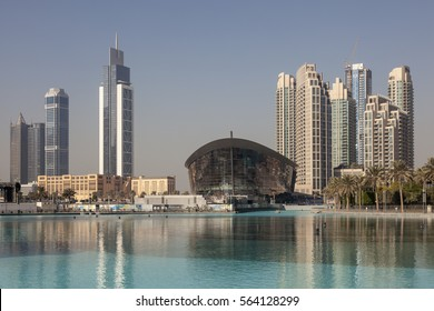 DUBAI, UAE - DEC 2, 2016: The new Dubai Opera House in Downtown Dubai. United Arab Emirates, Middle East