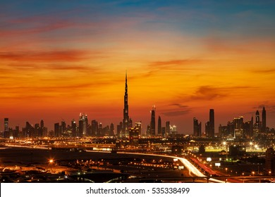 DUBAI, UAE - DEC 22: A beautiful skyline view of Dubai showing the Burj Khalifa on Dec 22, 2015 in Dubai, UAE. Burj Khalifa, the tallest skyscraper in the world, 829.8 m, construction began in 2004