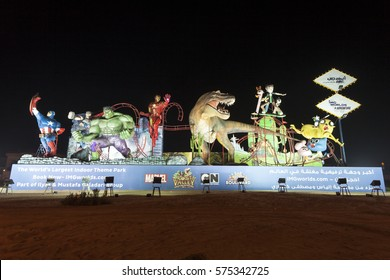 DUBAI, UAE - DEC 5, 2016: IMG Worlds of Adventure indoor amusement park in Dubai advertisement board. Dubai, United Arab Emirates