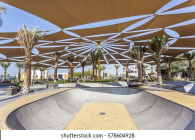 DUBAI, UAE - DEC 5, 2016: The new XDubai skatepark. XDubai is a 3100m2 skate park located near the Kite Beach in Dubai, United Arab Emirates