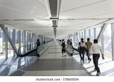 DUBAI, UAE - DEC 5, 2016: Metro Link overpass gangway to the Dubai Mall. Dubai, United Arab Emirates, Middle East