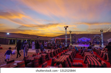 Dubai, UAE - Dec 5, 2018. Bedouin camp on the Dubai desert at sunset. Camping is one of the attractive nightlife in Dubai.