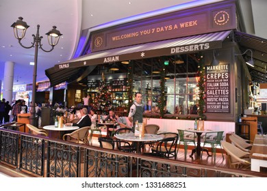 DUBAI, UAE - DEC 8: Cafe at Dubai Mall in Dubai, UAE, seen on Dec 8, 2018. At over 12 million sq ft, it is the world's largest shopping mall based on total area and 6th largest by gross leasable area.
