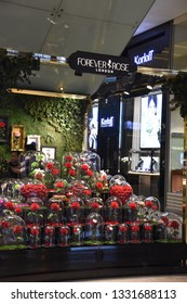 DUBAI, UAE - DEC 8: Forever Rose at Dubai Mall in Dubai, on Dec 8, 2018. At over 12 million sq ft, it is the world's largest shopping mall based on total area and 6th largest by gross leasable area.