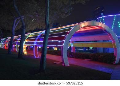 DUBAI, UAE - DEC 8: Dubai Garden Glow in Dubai, UAE, as seen on Dec 8, 2016. It is spread across 40 acres, with 32 installations made by 150 artists in ?200,000 man hours.