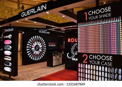 DUBAI, UAE - DEC 8: Guerlain at Dubai Mall in Dubai, UAE, on Dec 8, 2018. At over 12 million sq ft, it is the world's largest shopping mall based on total area and 6th largest by gross leasable area.