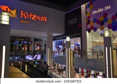 DUBAI, UAE - DEC 8: Kidzania at Dubai Mall in Dubai, UAE, on Dec 8, 2018. At over 12 million sq ft, it is the world's largest shopping mall based on total area and 6th largest by gross leasable area.