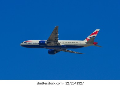 Dubai, UAE - Dec 9, 2018. A Boeing 777-200 airplane of British Airways taking-off from Dubai Airport (DXB). DXB is the third-busiest airport in the world.