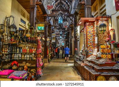 Dubai, UAE - Dec 9, 2018. Souk Madinat Jumeirah in Dubai. The traditional Arab style bazaar is part of Madinat Jumeirah resort.