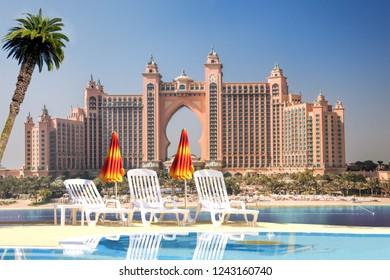 DUBAI, UAE - December 05, 2016:View of luxurious 5 stars Hotel Atlantis. The Palm Hotel in Dubai, United Arab Emirates