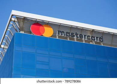 DUBAI, UAE - DECEMBER 1, 2017: Sign of mastercard on the office building