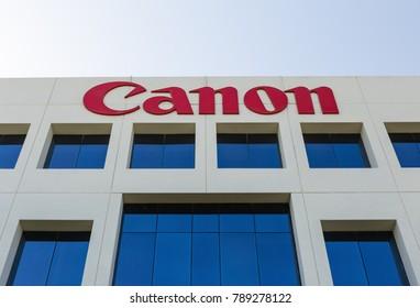 DUBAI, UAE - DECEMBER 1, 2017: Sign of canon on the office building