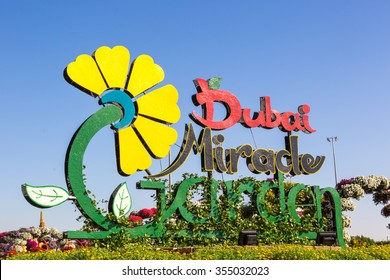 Dubai, UAE - December 10th 2015 - Sunny day in the Miracle Garden Park in downtown Dubai in the United Arab Emirates, Middle East.