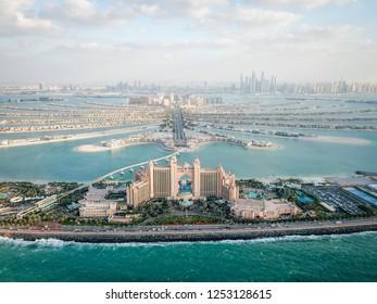 Dubai, UAE -  December 12, 2017: aerial view of Atlantis the Palm, Palm Jumeirah island panorama