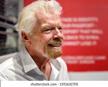 DUBAI, UAE - DECEMBER 13, 2019: Sir Richard Branson, Virgin Group Founder, World Famous Enterpreneur at a Public Event, December 13, Dubai, United Arab Emirates