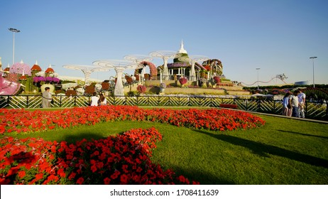 Dubai, UAE - December 14, 2019: Dubai Miracle Garden in the UAE. It has over 45 million flowers.