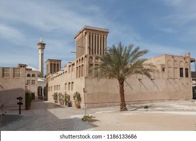 DUBAI, UAE - DECEMBER 16, 2014: A traditional windtower, or barjeel, in the Al Fahidi Historical Neighbourhood, also known as Al Bastakiya, in Dubai, United Arab Emirates.