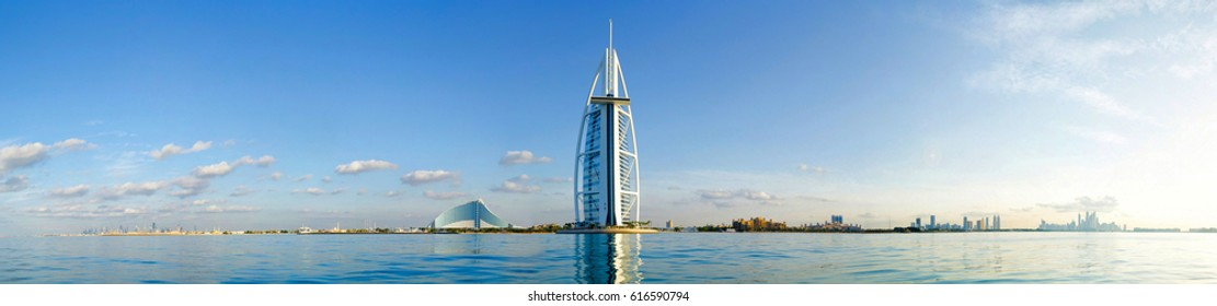 DUBAI, UAE - DECEMBER 17, 2012: Burj Al Arab seven stars luxury resort hotel panoramic view