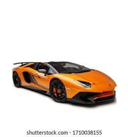 Dubai / UAE - December 19 2019: Lamborghini Aventador SV Roadster. Novitec air kit and wheels. Collection car. Cabrio custom model. Super car.