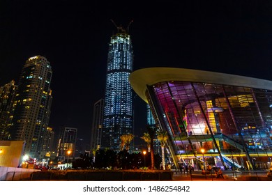 Dubai, UAE - December 2, 2018: District downtown. View of the Dubai Opera building in nighttime.