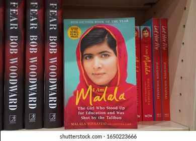 Dubai UAE December 2019 Book of Malala Yousafzai Pakistani activist for female education and the youngest Nobel Prize laureate on the book store.